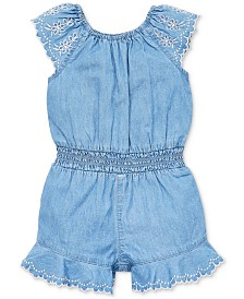 Little Me Baby Girls April Cotton Chambray Romper