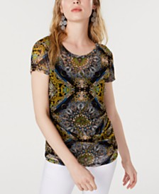I.N.C. Printed Paisley Ruched Top, Created for Macy's
