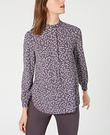 Anne Klein Printed Long-Sleeve Top