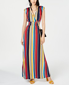 I.N.C. Petite Striped Smocked Maxi Dress, Created for Macy's