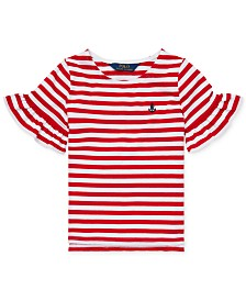 Polo Ralph Lauren Toddler Girls Ruffle-Sleeve Striped Cotton Top