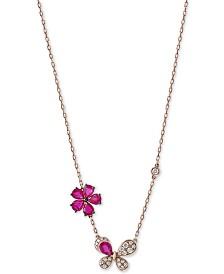 EFFY® Certified Ruby (1-1/10 ct. t.w.) & Diamond (1/6 ct. t.w.) Flower Pendant in 14K Rose Gold