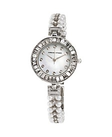 Collection Women's Silver Quartz Watch with Roman Numerals and Mother of Pearl Dial and Stone Accent Strap