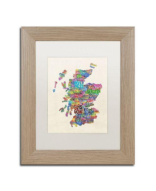 "Trademark Global Michael Tompsett 'Scotland Typography Text Map' Matted Framed Art - 11"" x 14"""