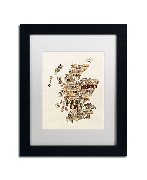 "Trademark Global Michael Tompsett 'Scotland Typography Text Map 3' Matted Framed Art - 11"" x 14"""
