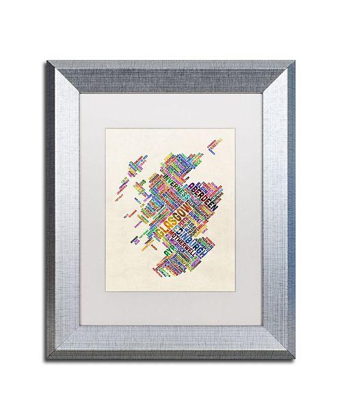 "Trademark Global Michael Tompsett 'Scotland Typography Text Map 4' Matted Framed Art - 11"" x 14"""