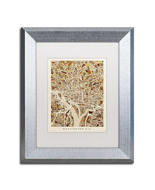 "Trademark Global Michael Tompsett 'Washington DC Street Map 3' Matted Framed Art - 11"" x 14"""