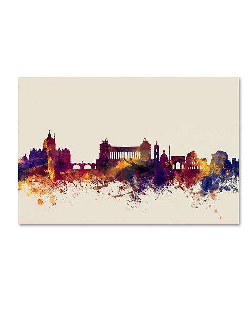 "Trademark Global Michael Tompsett 'Rome Italy Skyline' Canvas Art - 12"" x 19"""