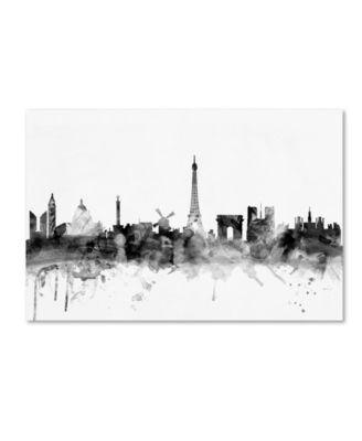 "Michael Tompsett 'Paris France Skyline B&W' Canvas Art - 12"" x 19"""