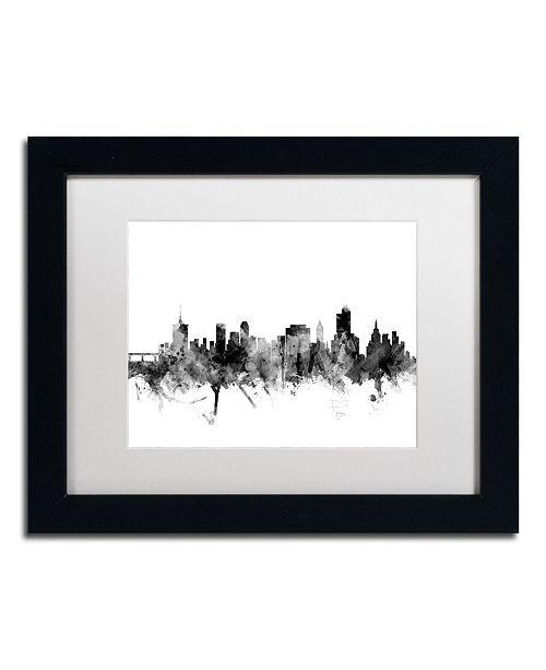 "Trademark Global Michael Tompsett 'Tulsa Oklahoma Skyline B&W' Matted Framed Art - 11"" x 14"""