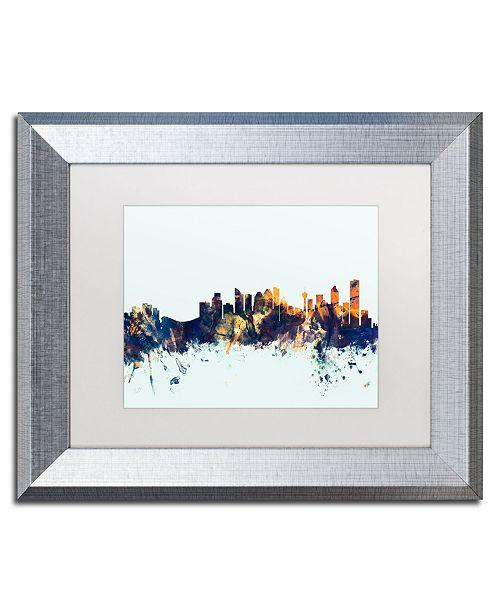 """Trademark Global Michael Tompsett 'Calgary Canada Skyline Blue' Matted Framed Art - 11"""" x 14"""""""