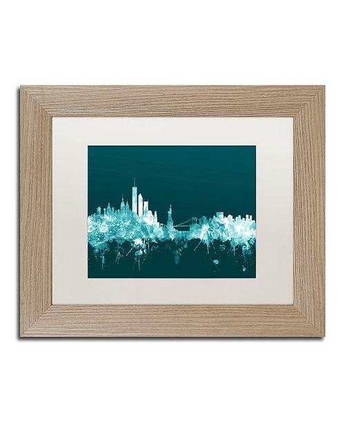 """Trademark Global Michael Tompsett 'New York Skyline Teal' Matted Framed Art - 11"""" x 14"""""""