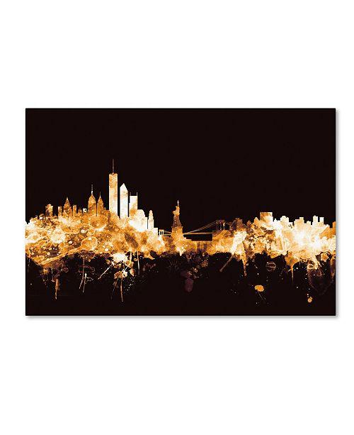 "Trademark Global Michael Tompsett 'New York Skyline Gold' Canvas Art - 12"" x 19"""