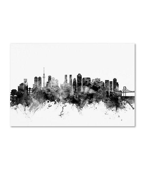 "Trademark Global Michael Tompsett 'Tokyo Japan Skyline B&W' Canvas Art - 12"" x 19"""