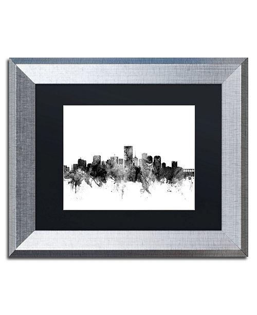"""Trademark Global Michael Tompsett 'Richmond Virginia Skyline B&W' Matted Framed Art - 11"""" x 14"""""""