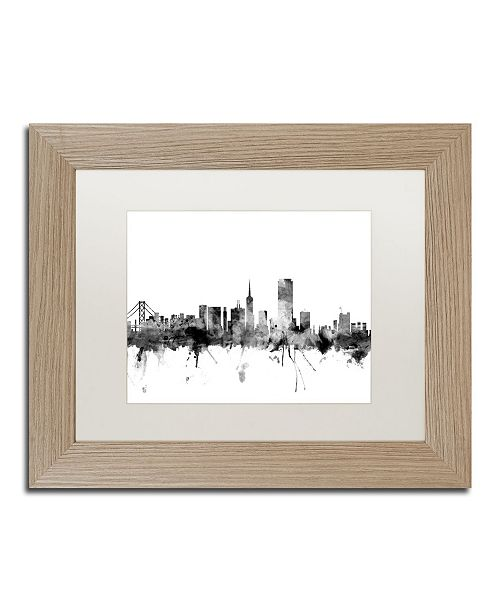 "Trademark Global Michael Tompsett 'San Francisco City Skyline B&W' Matted Framed Art - 11"" x 14"""