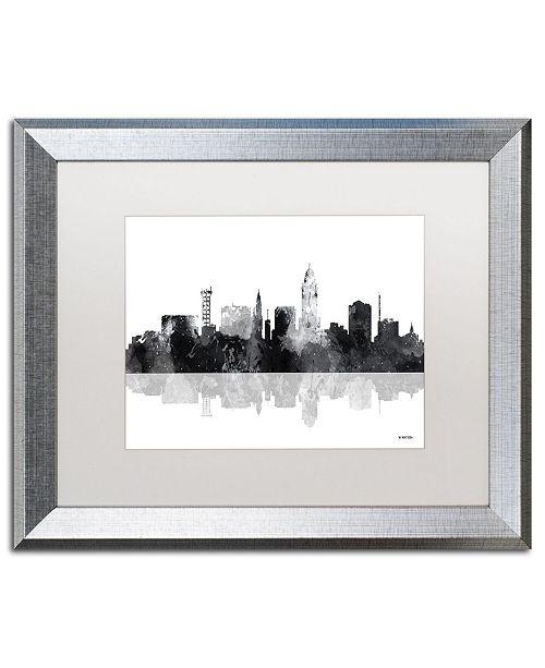 """Trademark Global Marlene Watson 'Lincoln Nebraska Skyline BG-1' Matted Framed Art - 16"""" x 20"""""""
