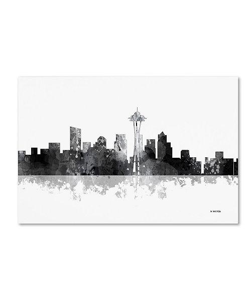 """Trademark Global Marlene Watson 'Seattle Washington Skyline BG-1' Canvas Art - 12"""" x 19"""""""