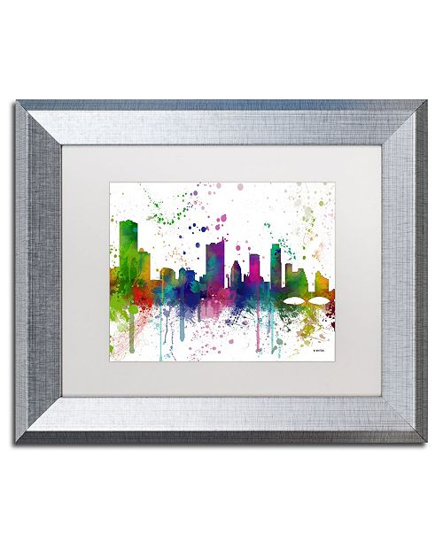 "Trademark Global Marlene Watson 'Austin Texas Skyline Mclr-1' Matted Framed Art - 11"" x 14"""