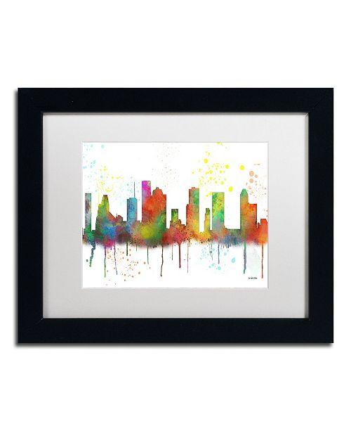 "Trademark Global Marlene Watson 'Houston Texas Skyline Mclr-1' Matted Framed Art - 11"" x 14"""