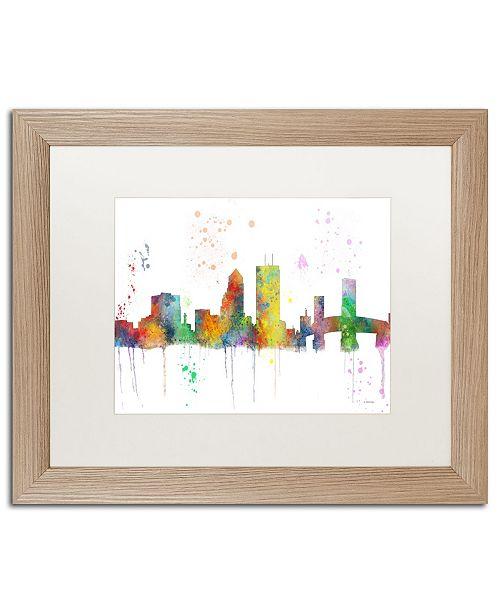 "Trademark Global Marlene Watson 'Jacksonville Florida Skyline Mclr-1' Matted Framed Art - 16"" x 20"""