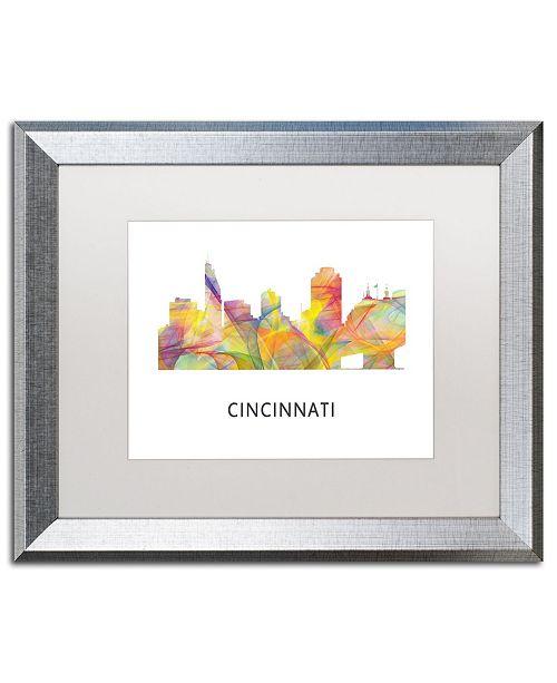 "Trademark Global Marlene Watson 'Cincinnati Ohio Skyline WB-1' Matted Framed Art - 16"" x 20"""