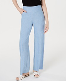 I.N.C. Petite Linen Wide-Leg Pants, Created for Macy's