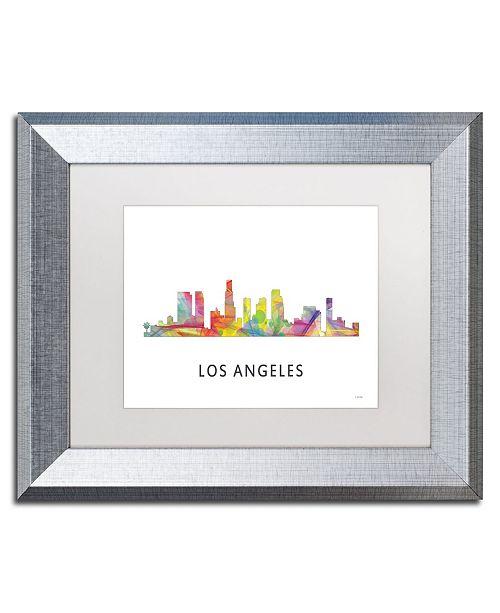 "Trademark Global Marlene Watson 'Los Angeles CA Skyline WB-1' Matted Framed Art - 11"" x 14"""