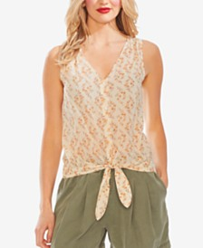 Vince Camuto Floral-Print Button-Through Top