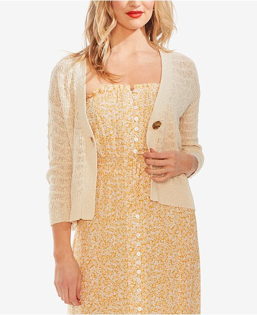 Vince Camuto Wave-Stitched Cardigan