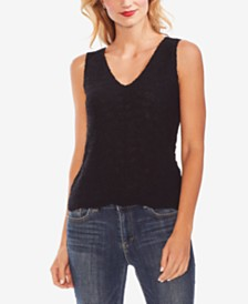 Vince Camuto Wave-Stitched Sweater Top