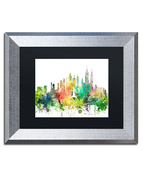 "Trademark Global Marlene Watson 'New York New York Skyline SP' Matted Framed Art - 11"" x 14"""