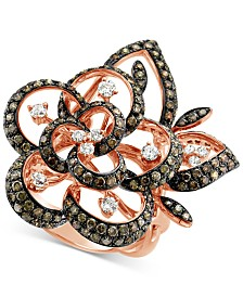 Le Vian Chocolatier® Diamond Floral Statement Ring (2-3/8 ct. t.w.) in 14k Rose Gold