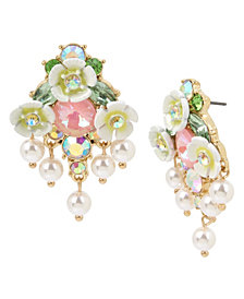 Betsey Johnson Mixed Flower & Stone Cluster Button Earrings