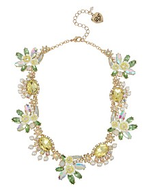 Betsey Johnson Mixed Flower & Stone Cluster Collar Necklace
