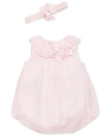 Little Me Baby Girls 2-Pc.Floral Bubble Romper & Headband Set