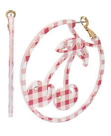 Summer Picnic Gingham Cherry Large Hoop Earrings
