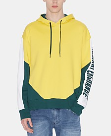 A|X Armani Exchange Men's Regular-Fit Colorblocked Logo-Print Hoodie