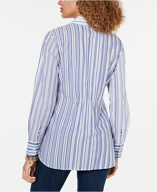 0eb0740a ... Tommy Hilfiger Tie-Waist Button-Down Tunic Top, Created for Macy's ...