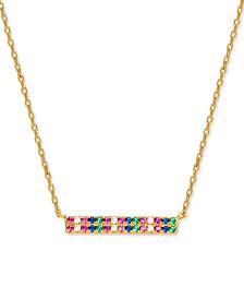 "Giani Bernini Cubic Zirconia Rainbow Bar Pendant Necklace in 18k Gold-Plated Sterling Silver, 16"" + 2"" extender, Created for Macy's"