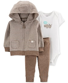 Carter's Baby Boys & Girls 3-Pc. Hoodie, Bodysuit & Pants Set
