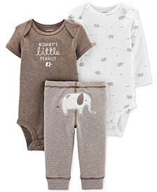 Baby Boys & Girls 3-Pc. Elephant Bodysuits & Pants Set