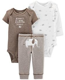 Baby Boys & Girls 3-Pc. Elephant Bodysuits & Pants Set