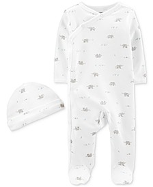 Baby Boys & Girls 2-Pc. Footed Coverall & Hat Cotton Set