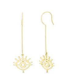 Women's Evil Eye Dangle Gold-Tone Drop Hook Earrings