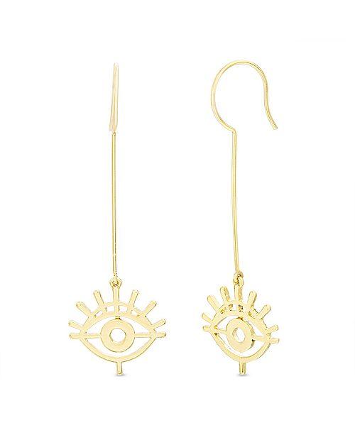 Steve Madden Women's Evil Eye Dangle Gold-Tone Drop Hook Earrings