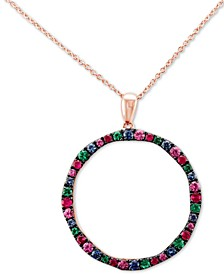 "Multi-Gemstone (1-1/6 ct. t.w.) 20"" Pendant Necklace in 14k Rose Gold"