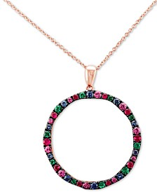 "Le Vian® Multi-Gemstone (1-1/6 ct. t.w.) 20"" Pendant Necklace in 14k Rose Gold"