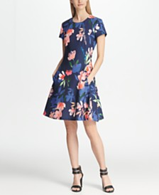 DKNY Short Sleeve Floral Fit & Flare Dress