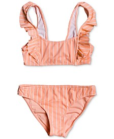 Roxy Big Girls 2-Pc. Ruffle-Trim Bikini